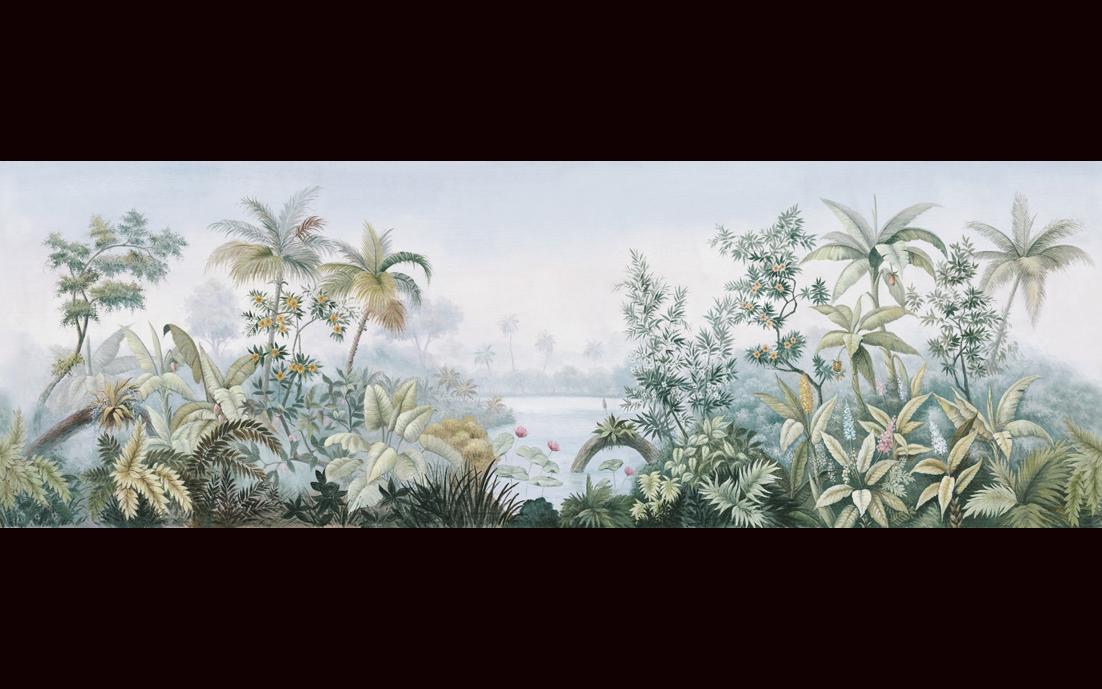 手繪抽象東南亞樹林